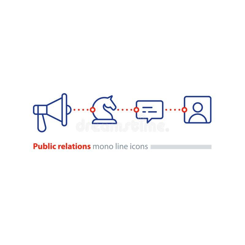 Pubbliche relazioni concetto, icona piana del megafono, annunciante promozione illustrazione di stock