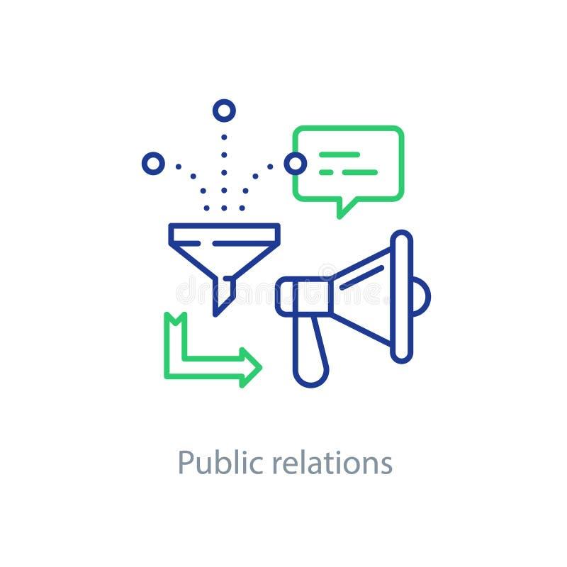 Pubbliche relazioni concetto, linea icona del megafono, annunciante promozione royalty illustrazione gratis
