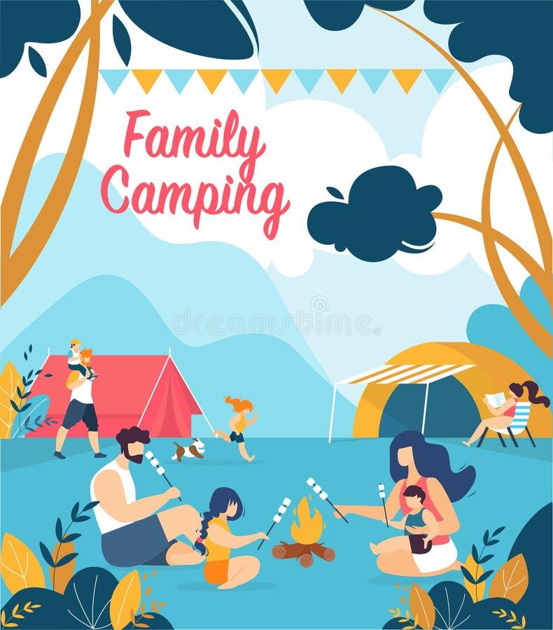 Pubblicità del campeggio della famiglia dell'iscrizione del manifesto illustrazione vettoriale