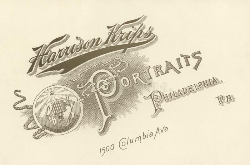 Pubblicità del fotografo, Circa 1880 immagine stock libera da diritti
