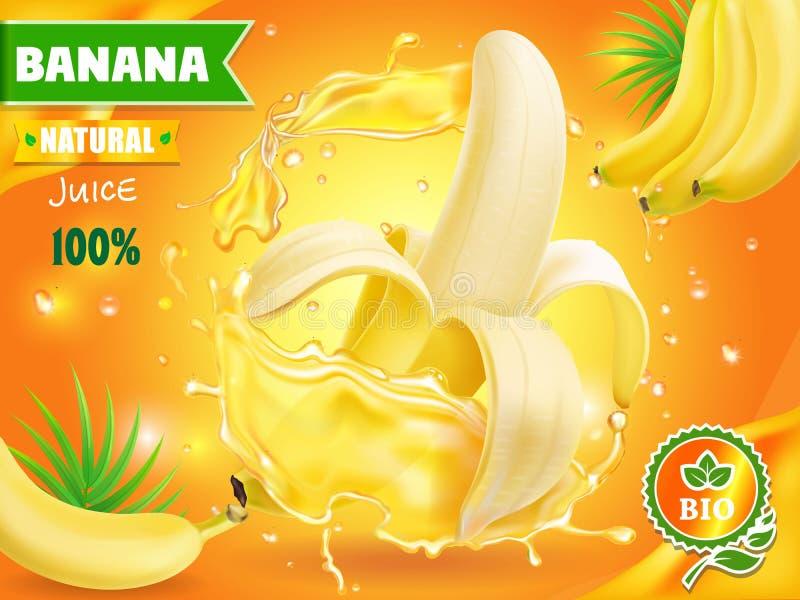 Pubblicità del succo della banana con la spruzzata fresca del succo di frutta tropicale Disegno di pacchetto royalty illustrazione gratis