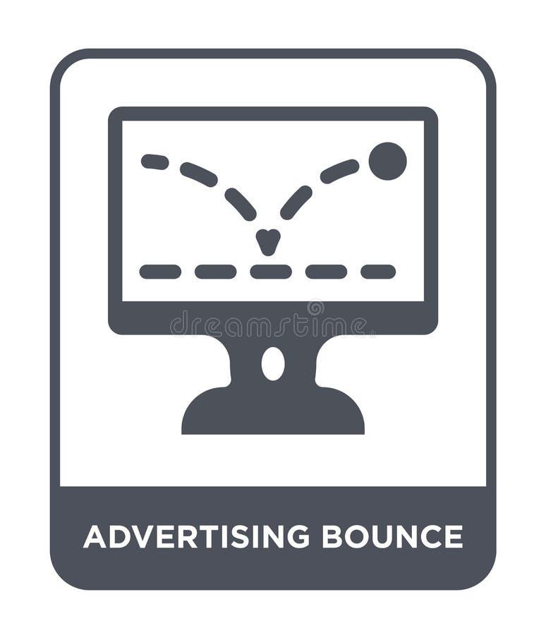 pubblicità dell'icona di rimbalzo nello stile d'avanguardia di progettazione annunciando l'icona di rimbalzo isolata su fondo bia illustrazione di stock
