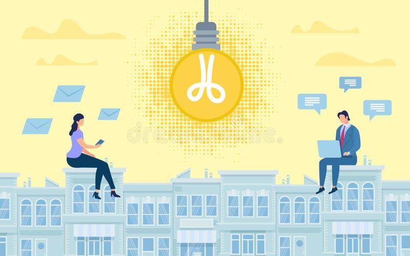 Pubblicità dell'idea di collaborazione online dell'insegna illustrazione vettoriale