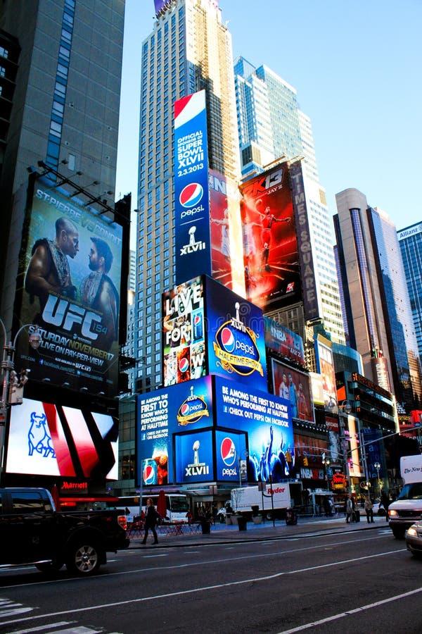 Pubblicità della Pepsi-cola Superbowl XLVII nei periodi quadrati. fotografie stock libere da diritti