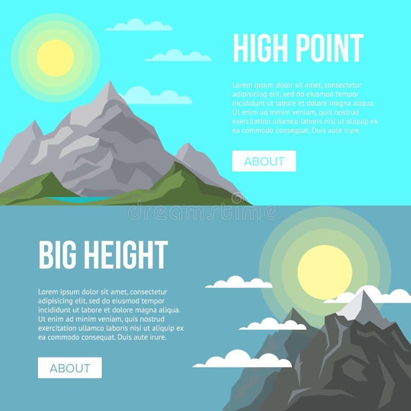 Pubblicità di attività di alpinismo con i picchi illustrazione vettoriale