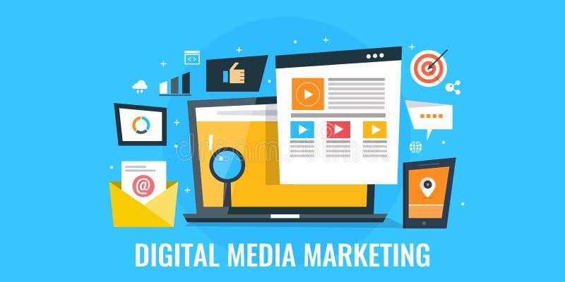 Pubblicità di media di Digital - ottimizzazione del pubblico e concetto di impegno Insegna piana di vendita di progettazione illustrazione di stock