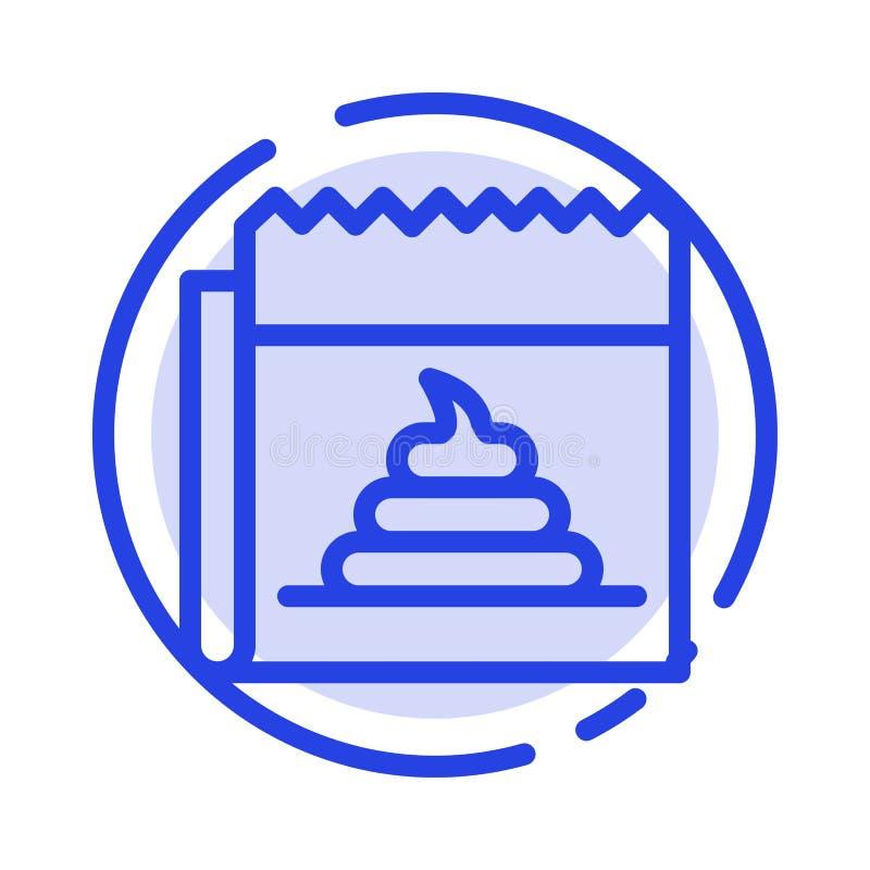 Pubblicità, falsificazione, mistificazione, giornalismo, linea punteggiata blu linea icona di notizie illustrazione di stock