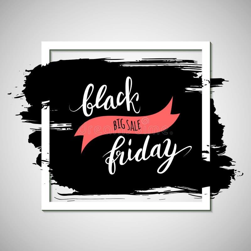 Pubblicità nera di vendita di venerdì, insegna con il colpo approssimativo dell'inchiostro, e royalty illustrazione gratis