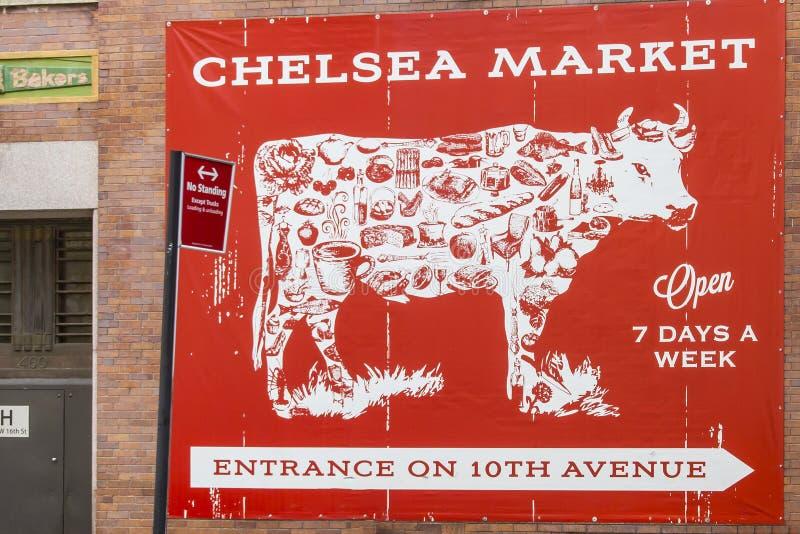 """Pubblicità per il mercato coperto famoso """"Chelsea Market """"in New York, U.S.A. fotografia stock libera da diritti"""