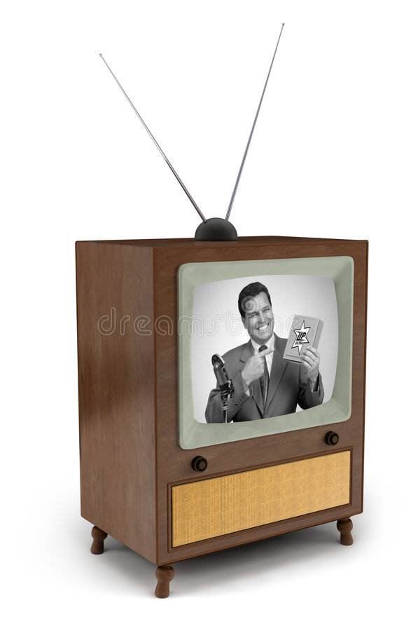pubblicità televisiva 50s immagine stock libera da diritti