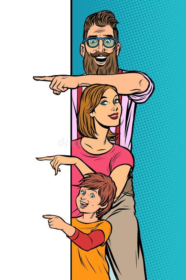 Pubblicit? di annuncio figlio della mamma del papà della famiglia illustrazione vettoriale