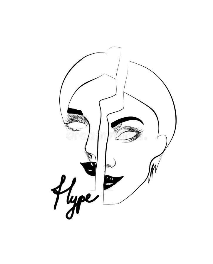 Pubblicizzi il ilustration del fronte della ragazza e di slogan illustrazione vettoriale