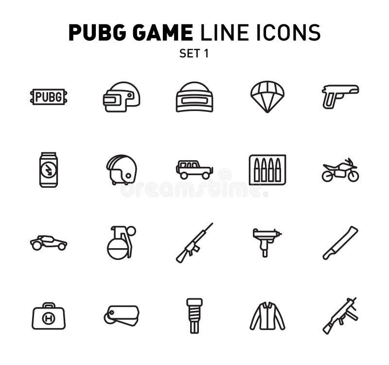 PUBG gry linii ikony Wektorowa ilustracja bojowi udostępnienia Liniowy projekt Set 1 ikony dla playerUnknown ilustracji