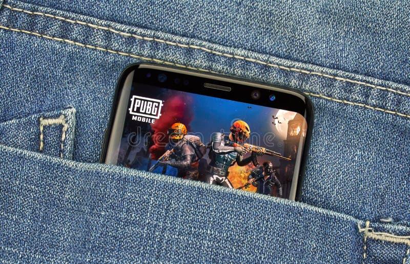 PUBG-mobiele toepassing op Samsung s8 stock afbeelding