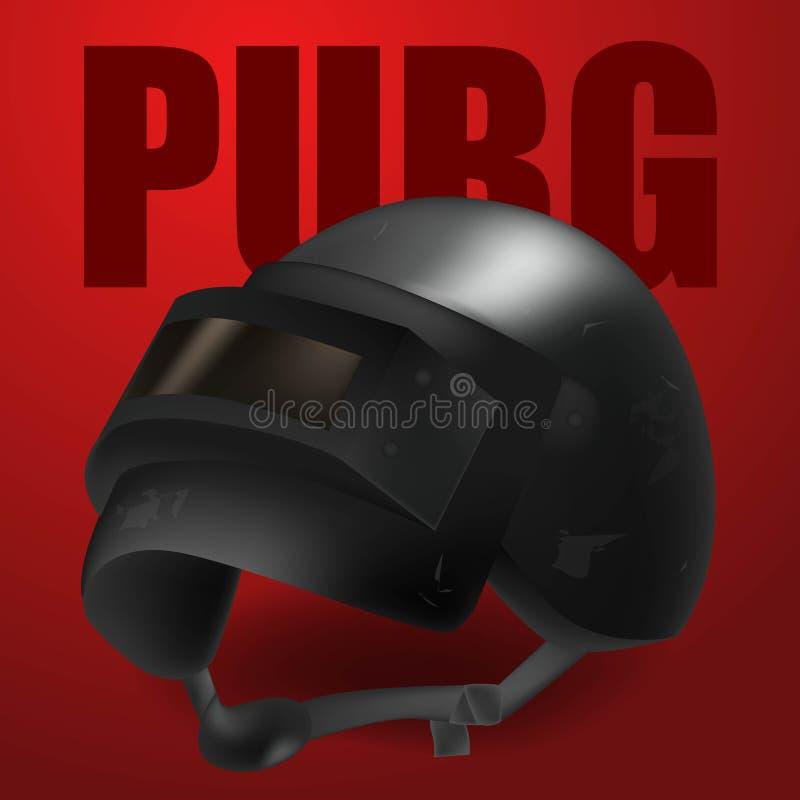 PUBG - PlayerUnknowns-Slagveldenspel Realistische zwarte vectorhelm van het Slagveld van Playerunknown s Vectorillustratie  royalty-vrije illustratie