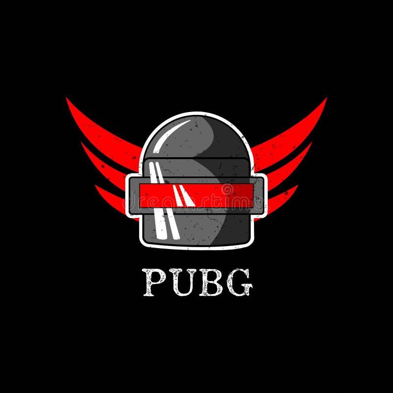 PUBG - PlayerUnknowns-Slagveldenspel Vectorhelm van het Slagveld van Playerunknown ` s De illustratie van het beeldverhaal stock illustratie