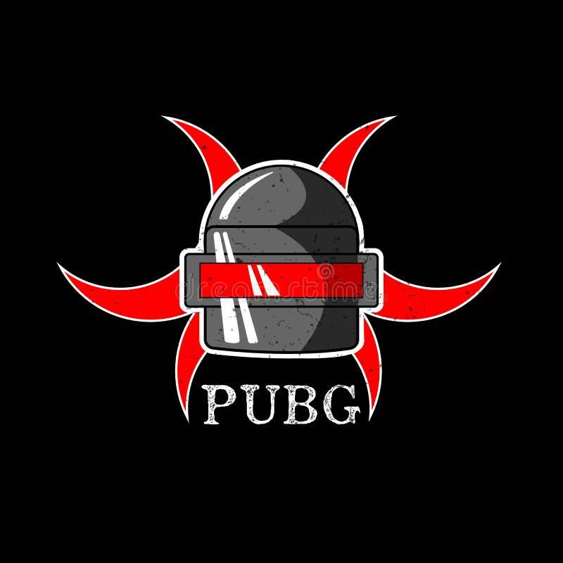 PUBG - PlayerUnknowns-Slagveldenspel Vectorhelm van het Slagveld van Playerunknown ` s De illustratie van het beeldverhaal vector illustratie