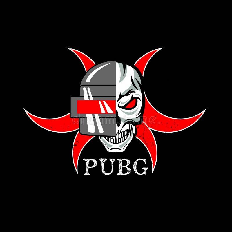 PUBG - PlayerUnknowns-Slagveldenspel Vectorhelm van het Slagveld van Playerunknown ` s De illustratie van het beeldverhaal royalty-vrije illustratie