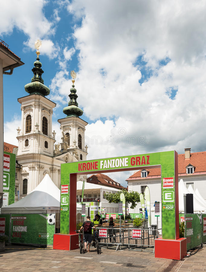 Pubic Viewing area during European football championship in Graz, Austria. Graz, Austria - June 18, 2016: Pubic Viewing area by local Krone Zeitung (daily stock photos