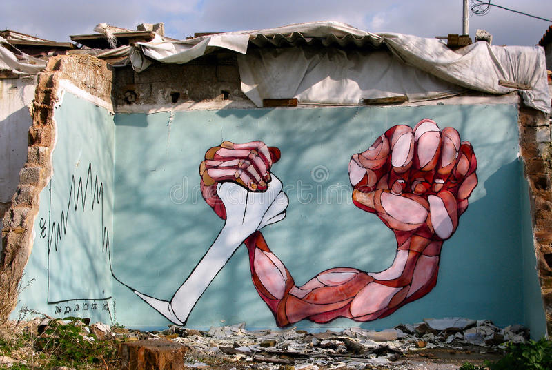 Publc graffiti in Greece. Greece struggles with economic crises royalty free stock image
