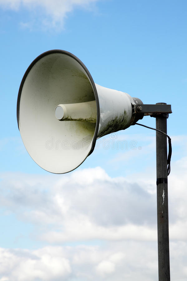 Public address system. Outdoors loudspeaker metal megaphone public address system royalty free stock photos