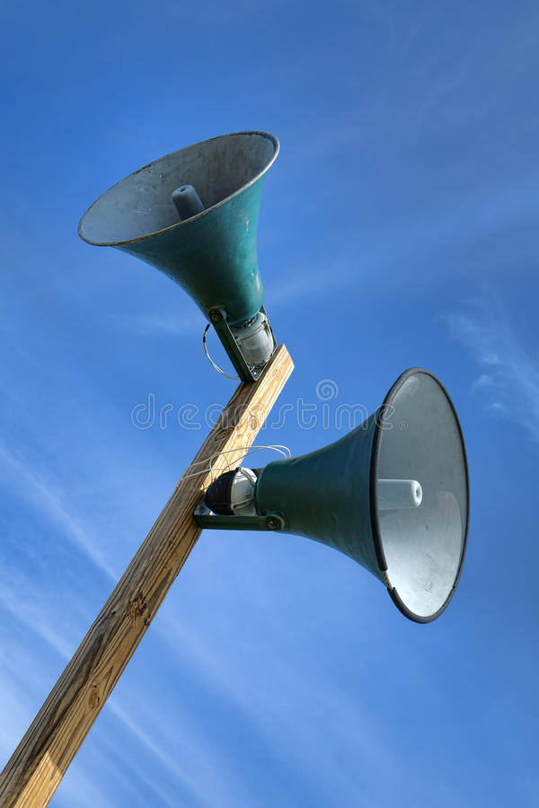 Public Announcement System Loudspeakers on Pole royalty free stock photography