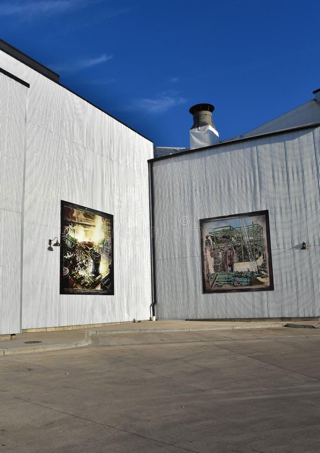 Public art on refurbished warehouse royalty free stock photos