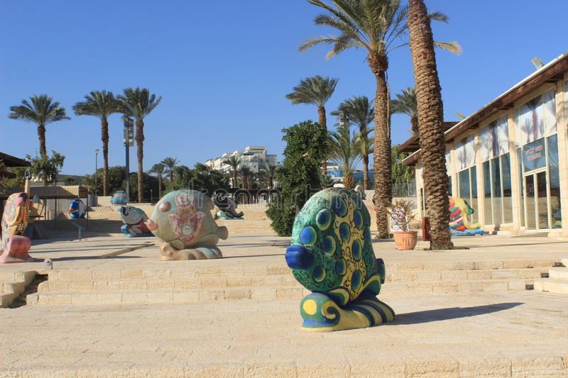 Public artwork in Eilat, Israel. Statues depicting fish in the southern red sea riviera tourist town of Eilat. Popular with divers because of the many colorful stock images