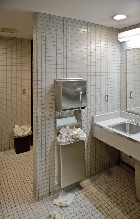 Download Public bathroom stock image. Image of untidiness, towel - 4653201