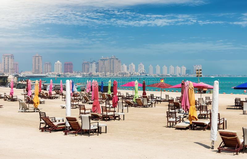 The public beach at Katara Cultural Center in Doha. Qatar royalty free stock photos