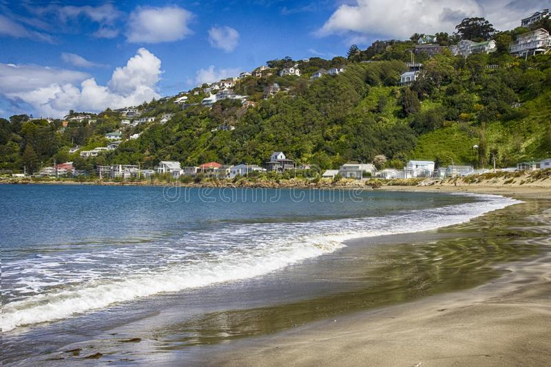 A public beach in Wellington during a beautiful sunny day royalty free stock images