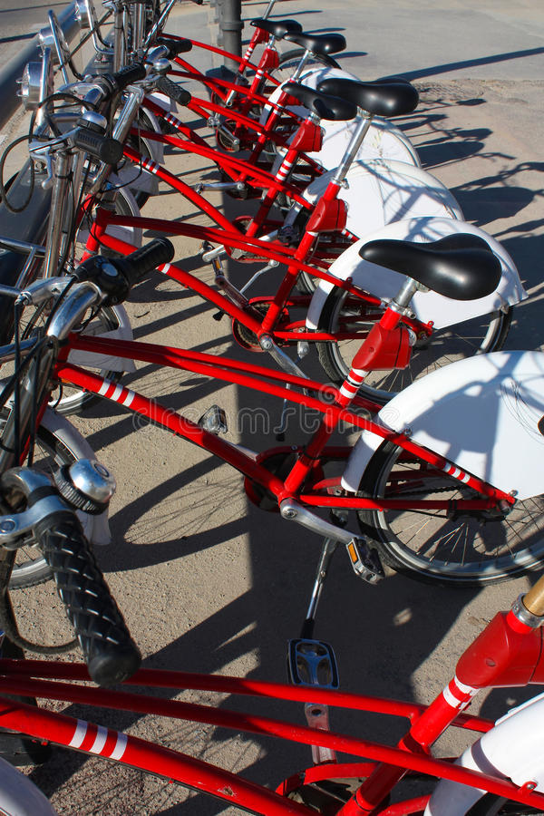 Public bicycle parking, Barcelona. Public bicycle parking in the city of Barcelona, popularly called bicing royalty free stock photography