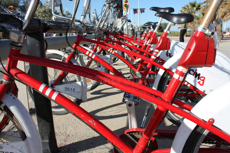 Public bicycle parking, Barcelona stock photo