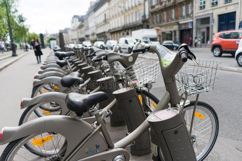 Public bicycle rental. In the street in Paris,France royalty free stock image