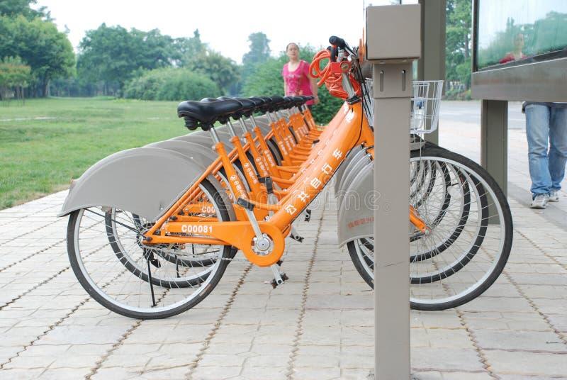 Public bicycles in Chengdu stock photos
