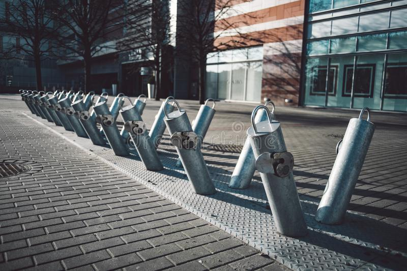 Public bike parking with no bicycles. At Warsaw, Poland royalty free stock photography