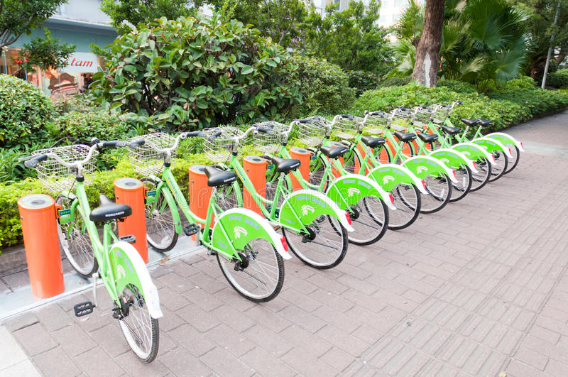 Download Public Bike System In China Editorial Image - Image of parking, perspective: 21913145