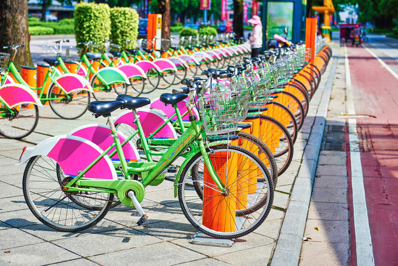 Public bike system. Public bike park system in China city,Asia royalty free stock images
