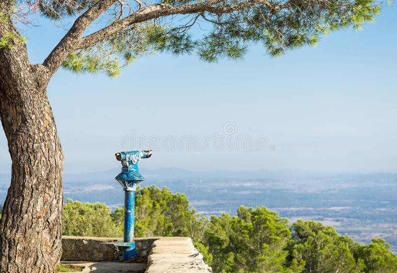 Public binoculars. Foresight and vision for business concept and ideas. royalty free stock images