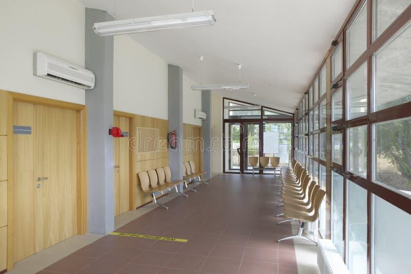 Public building waiting area. Health center interior detail. Nobody. Public building waiting area. Health center indoor. Nobody. Horizontal stock image