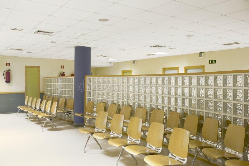 Public building waiting area. Hospital interior detail. Nobody. Horizontal stock image