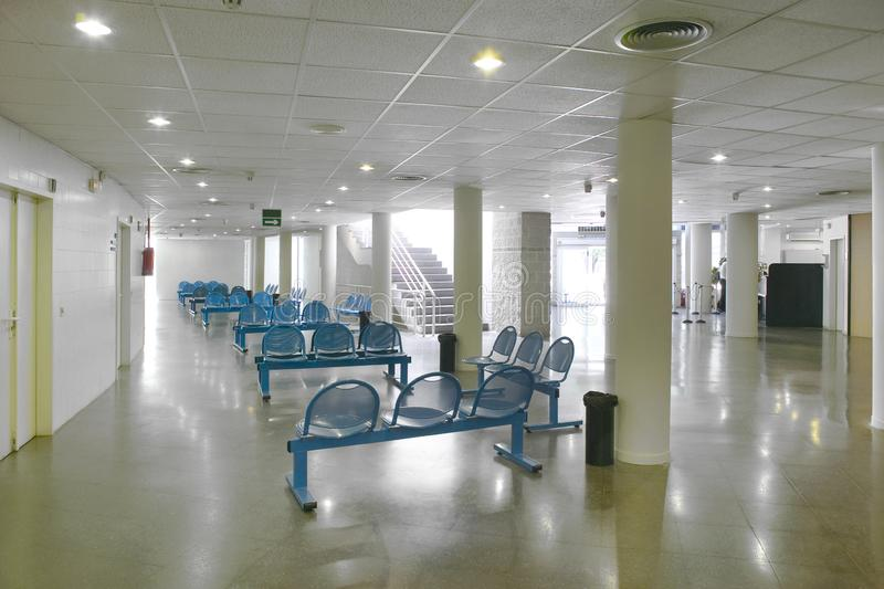 Public building waiting area. Hospital interior detail. Nobody. Horizontal stock images