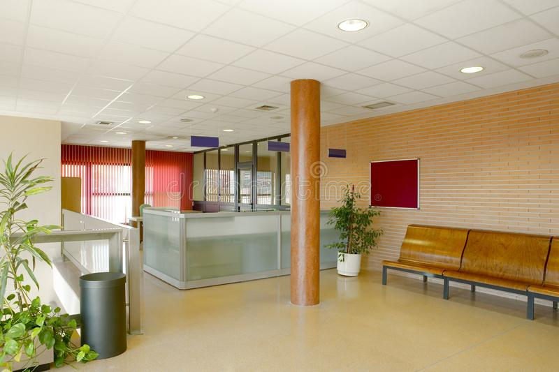 Public building waiting area. Hospital interior detail. Nobody. Horizontal royalty free stock photo