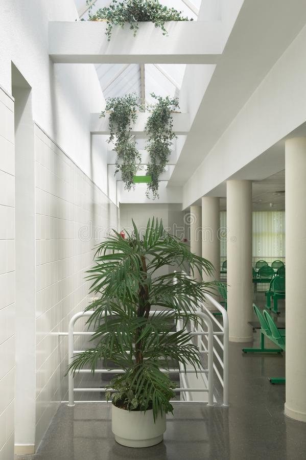 Public building waiting area. Hospital interior detail. Nobody. Vertical royalty free stock photography