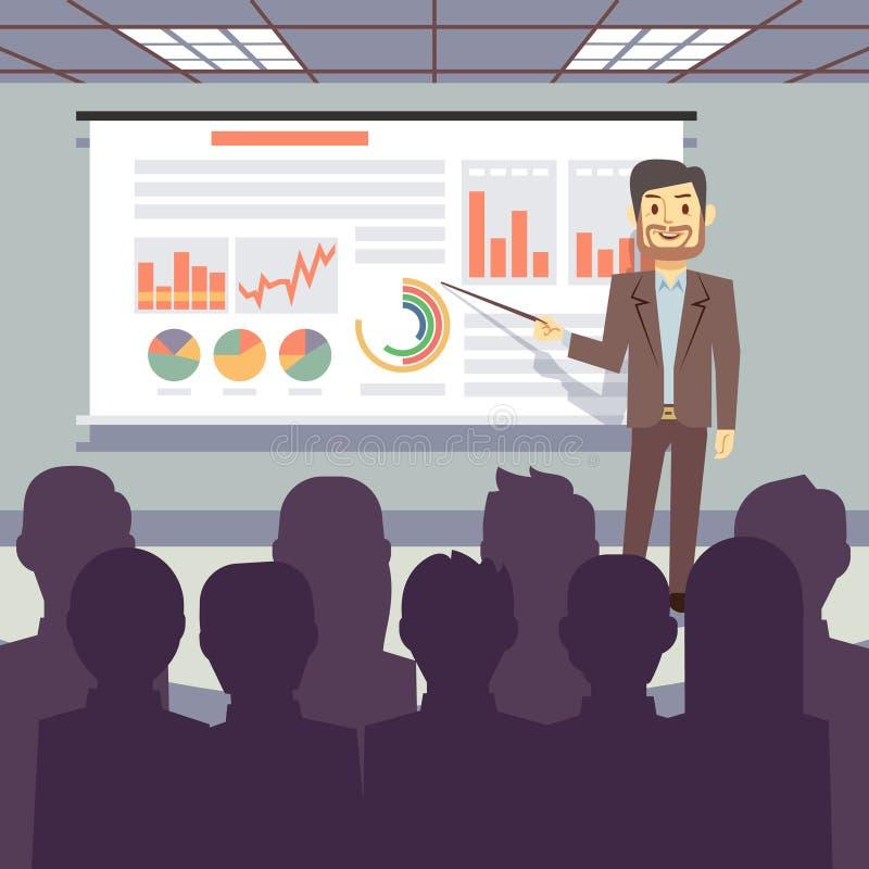 Public business training, conference, workshop presentation vector concept royalty free illustration