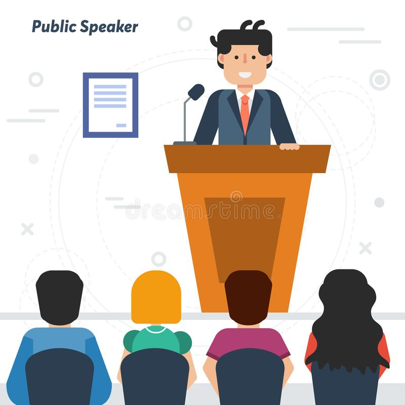 Public businessman speaker from tribune and audience vector illustration