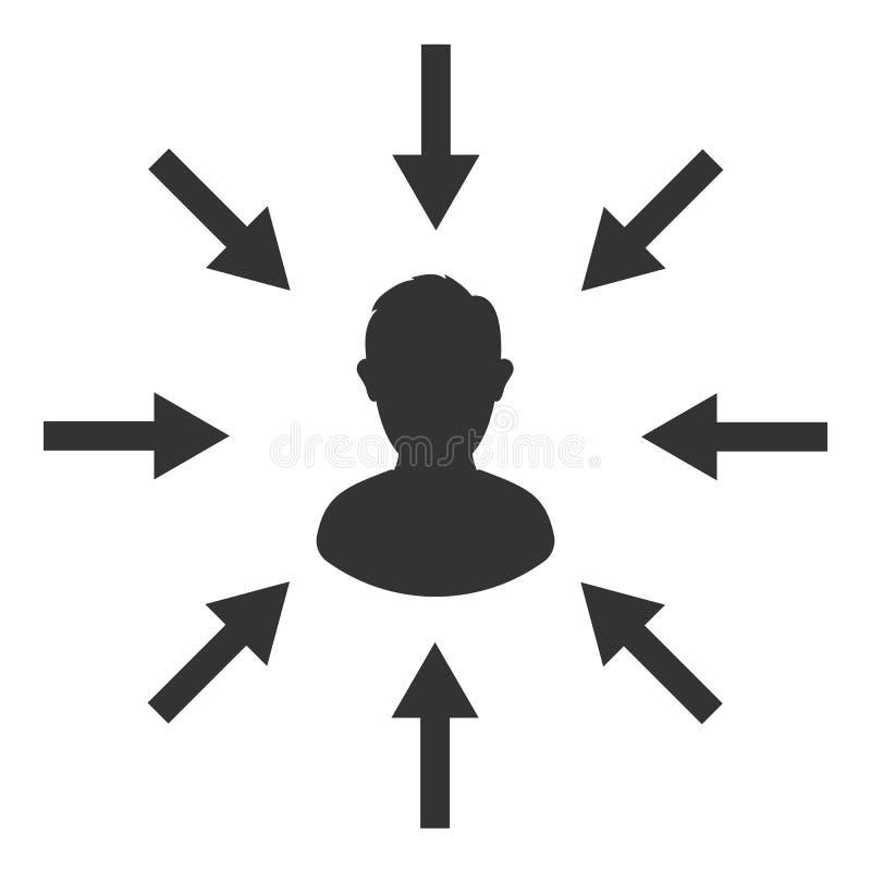 Public cible Client, optimisation de client Centricity du consommateur Signe humain de foyer illustration de vecteur