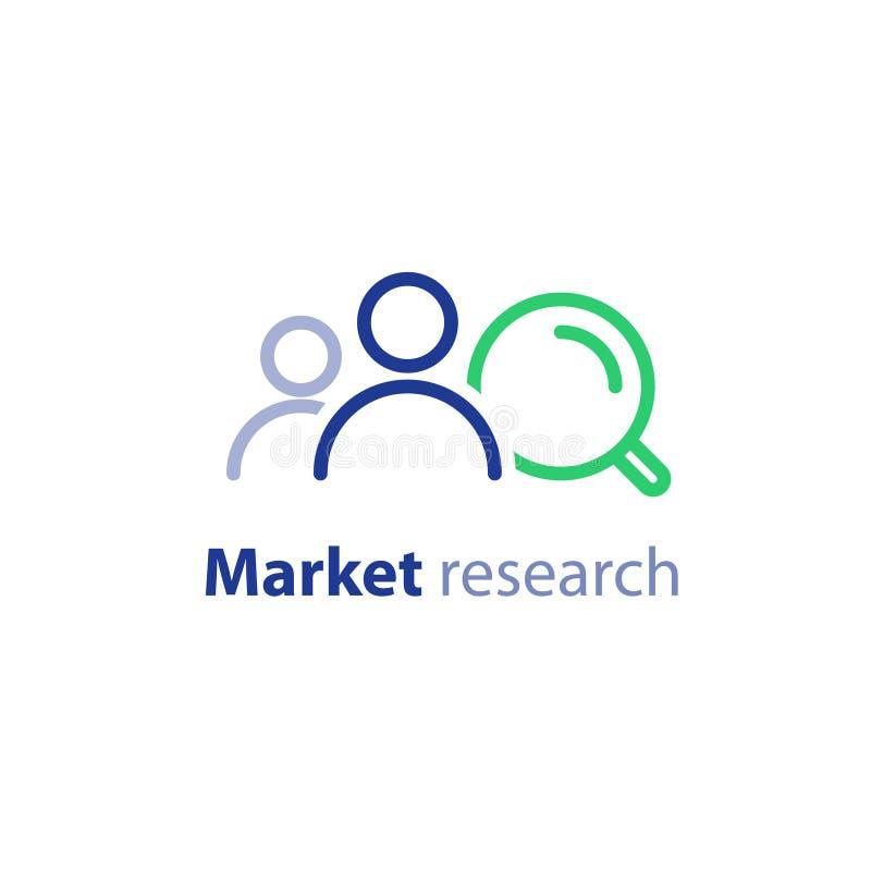 Public cible, recherche de marché, relations publiques concept, ligne icône illustration stock