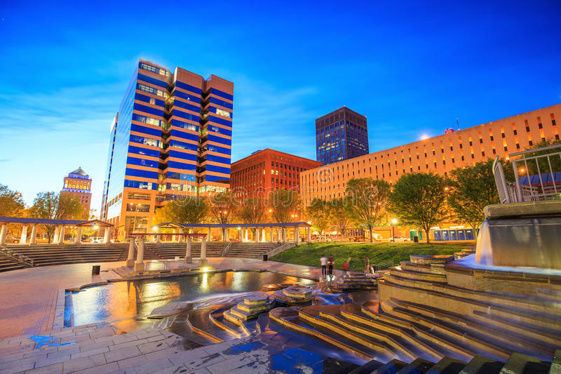 Public Citygarden in downtown st. louis. At twilight royalty free stock images