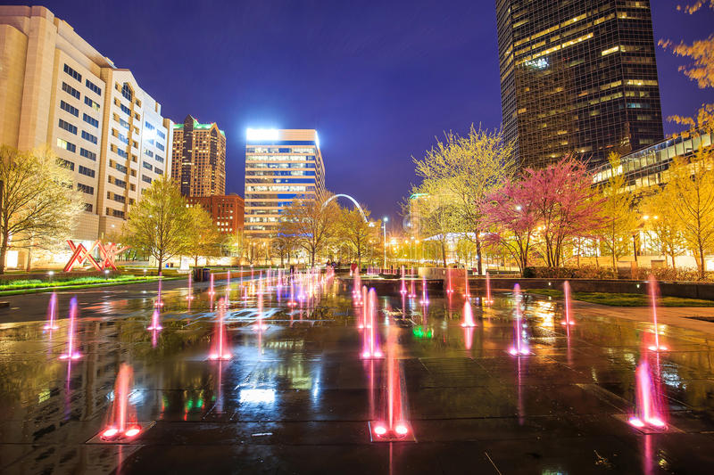 Public Citygarden in downtown st. louis. At twilight royalty free stock photography